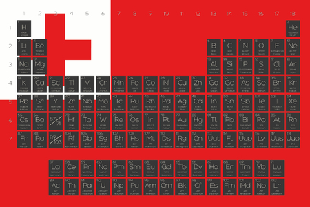 A Periodic Table Of Elements Overlayed On The Flag Tonga Photo