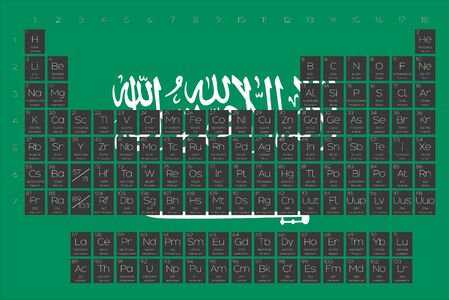 A Periodic Table of Elements overlayed on the flag of Saudi Arabia