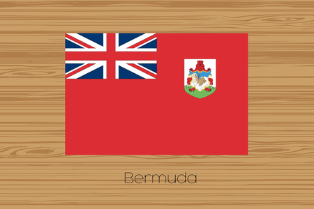 bermuda: An Illustration of a wooden floor with the flag of Bermuda