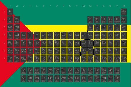 principe: A Periodic Table of Elements overlayed on the flag of Sao Tome E Principe