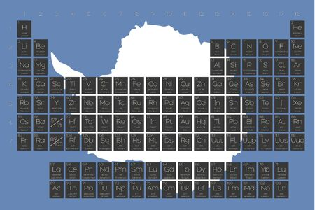 antartica: A Periodic Table of Elements overlayed on the flag of Antartica