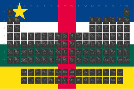central african republic: A Periodic Table of Elements overlayed on the flag of Central African Republic Illustration