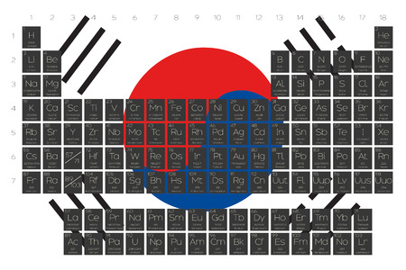 A Periodic Table of Elements overlayed on the flag of South Korea Illustration