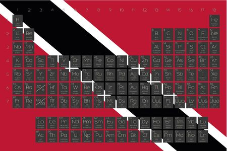 A Periodic Table of Elements overlayed on the flag of Trinidad and Tobago