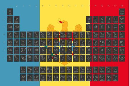 A Periodic Table of Elements overlayed on the flag of Moldova Illustration