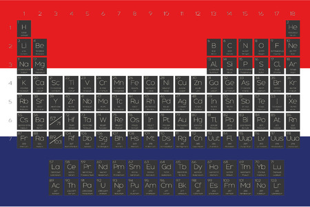 atomic number: A Periodic Table of Elements overlayed on the flag of Netherlands Illustration