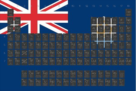 A Periodic Table of Elements overlayed on the flag of Anguilla Illustration