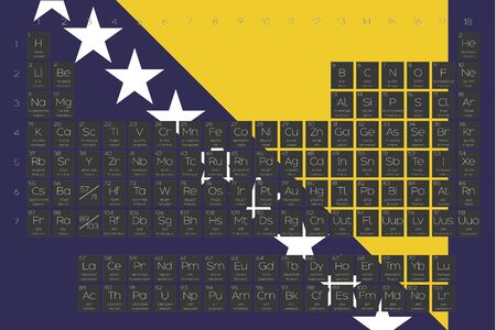 A Periodic Table of Elements overlayed on the flag of Bosnia