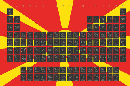 actinides: A Periodic Table of Elements overlayed on the flag of Macedonia Illustration