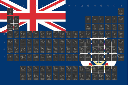 A Periodic Table of Elements overlayed on the flag of FalklandI slands Illustration