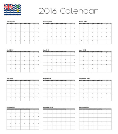 indian ocean: A 2016 Calendar with the Flag of British Indian Ocean Territory