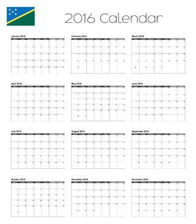 solomon: A 2016 Calendar with the Flag of Solomon Islands Stock Photo