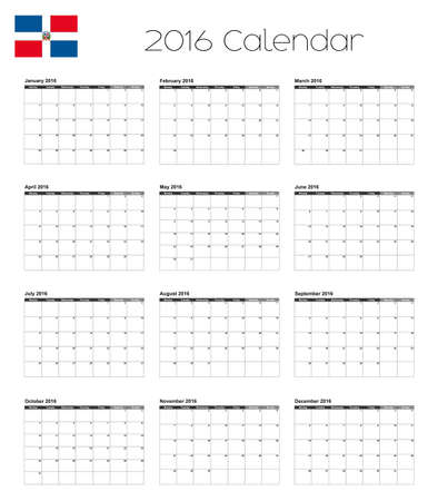 dominican: A 2016 Calendar with the Flag of Dominican Republic