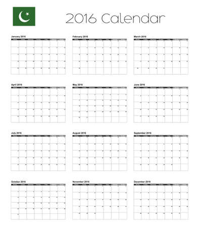 agenda year planner: A 2016 Calendar with the Flag of Pakistan