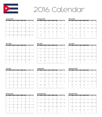 agenda year planner: A 2016 Calendar with the Flag of Cuba