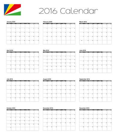 seychelles: A 2016 Calendar with the Flag of Seychelles