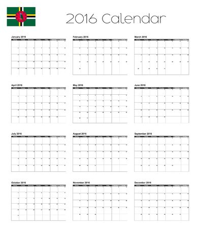 dominica: A 2016 Calendar with the Flag of Dominica Stock Photo
