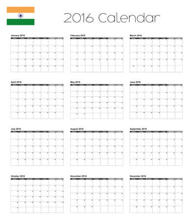 agenda year planner: A 2016 Calendar with the Flag of India