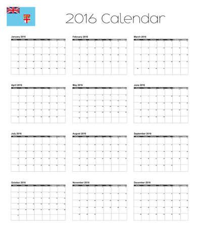 fiji: A 2016 Calendar with the Flag of Fiji