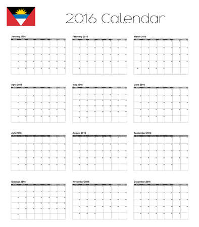 antigua: A 2016 Calendar with the Flag of Antigua and Barbuda