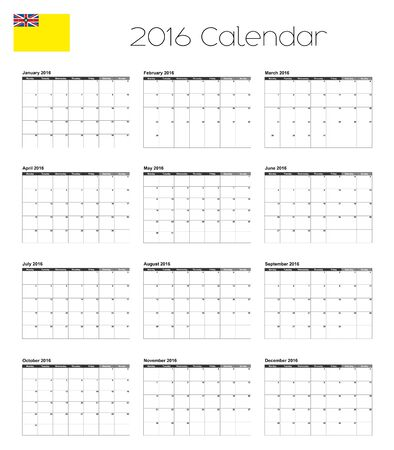 niue: A 2016 Calendar with the Flag of Niue Illustration