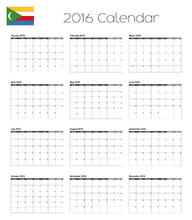 comoros: A 2016 Calendar with the Flag of Comoros