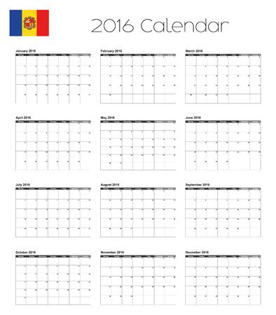 andorra: A 2016 Calendar with the Flag of Andorra Illustration