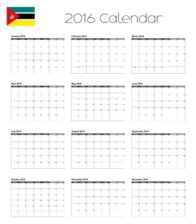 mozambique: A 2016 Calendar with the Flag of Mozambique