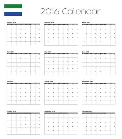sierra: A 2016 Calendar with the Flag of Sierra Leone