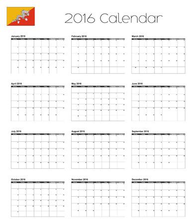 bhutan: Een 2016 Kalender met de vlag van Bhutan