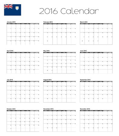 anguilla: A 2016 Calendar with the Flag of Anguilla Illustration