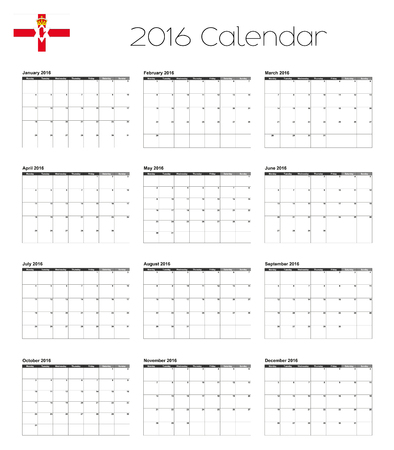 northern ireland: A 2016 Calendar with the Flag of Northern Ireland