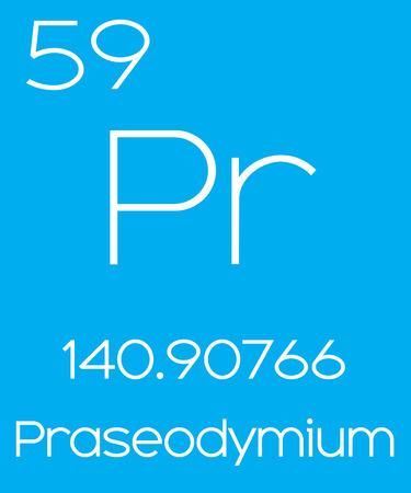 actinides: An Informative Illustration of the Periodic Element - Praseodymium Illustration