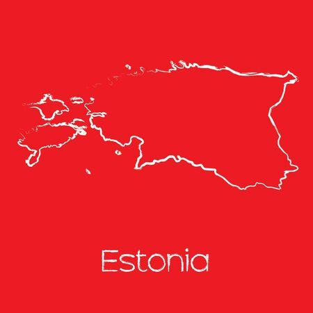 estonia: A Map of the country of Estonia Illustration
