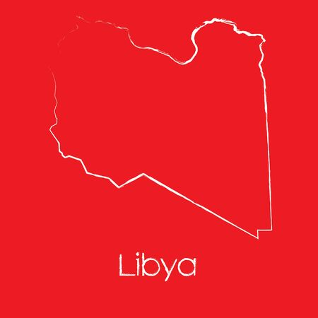 libya: A Map of the country of Libya Illustration
