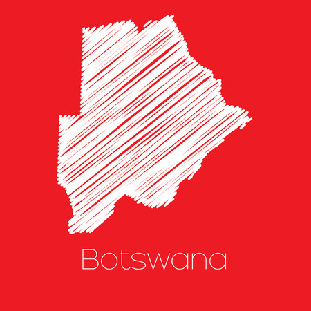 botswana: A Map of the country of Botswana Illustration