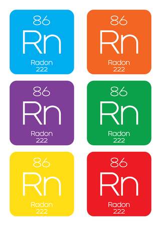 radon: An Informative Illustration of the Periodic Element - Radon Stock Photo
