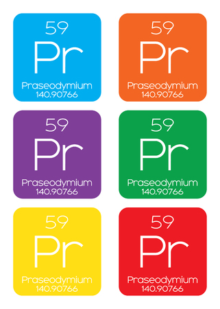 actinides: An Informative Illustration of the Periodic Element - Praseodymium Illustration