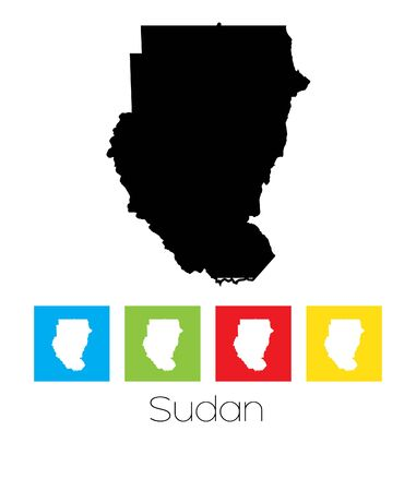 sudan: A Map of the country of Sudan Illustration