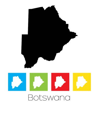 botswana: A Map of the country of Botswana Illustration