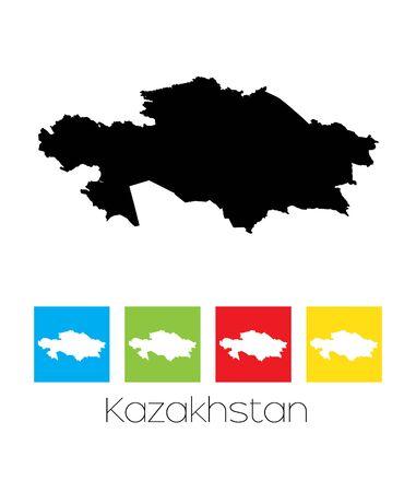 kazakhstan: A Map of the country of Kazakhstan Illustration