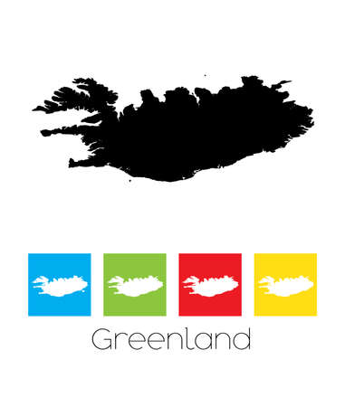 greenland: A Map of the country of Greenland Illustration