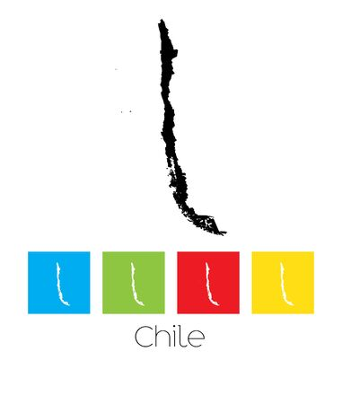 chile: A Map of the country of Chile Illustration