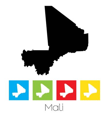 mali: A Map of the country of Mali Illustration