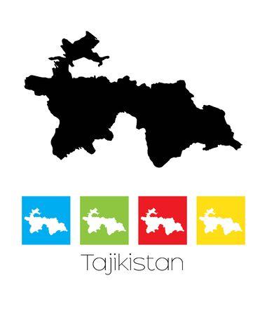 tajikistan: A Map of the country of Tajikistan Illustration