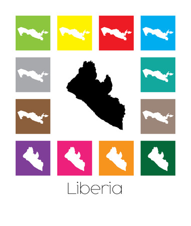 liberia: Multicoloured Map  of the country of Liberia Stock Photo