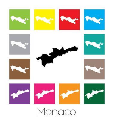 multicoloured: Multicoloured Map  of the country of Monaco Stock Photo