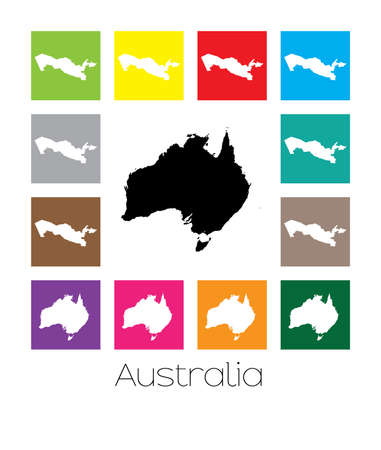 multicoloured: Multicoloured Map  of the country of Australia