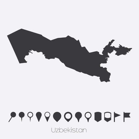 pointers: A Map with pointers of the country of Uzbekistan