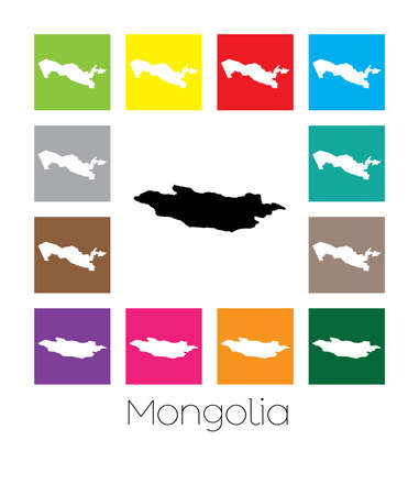 mongolia: Multicoloured Map  of the country of Mongolia